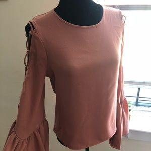 Pretty and Romantic, Tie Detail Bell Sleeve Blouse